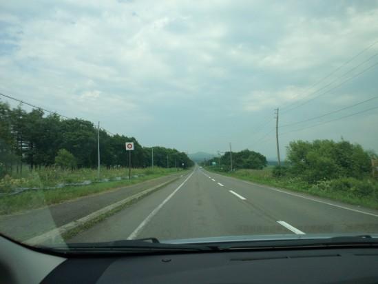 プリウスの車窓から。(助手席搭乗者撮影) こんな直線が多いです。