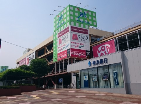 厚木の郊外にある「アツギ・トレリス」。規模は大きく、写真で映っている建物は駐車場のみの棟で、奥のほうに店舗棟があります。