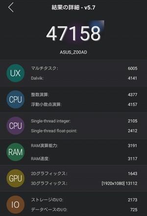 特にRAMとIOが良いパフォーマンスです。ちなみにわたしの持っているXPERIAZ3Compactは44922でしたが、解像度がZenFone2より狭い1280×720なので単純に比較出来ません。