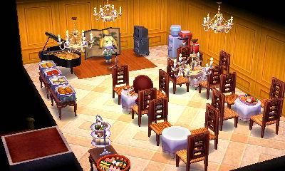 ホテルの夕食会場(ビュッフェスタイル)っぽい感じにしました。ピアノやカラオケの機材もありますので各種イベントにも対応。
