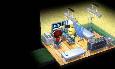 診察室。手前が診察用ベッド、奥が点滴などで使う処置室のイメージです。