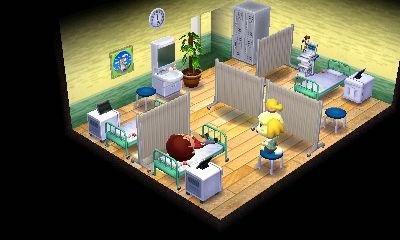 病室。4人ベッドが一般的ですが、ベッドのノルマが3なので、3人部屋です。去年に実際に入院したので病室の雰囲気は出せたかなあと。