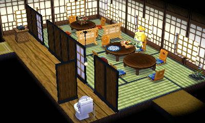 和食らしく、廊下と座敷とで分離させました。あとこれは作成途中でしたが壁の絵も照明も和食の店風にしました。