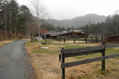「木曽馬の里」の厩舎です。外には放牧場もあるのですが、悪天候(この写真撮影時も降雨状態)のため一頭も放牧されておらず…。