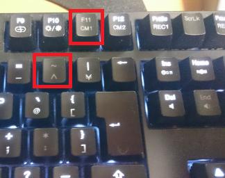 「F11」に加えて「^」のキーが消灯しました…。