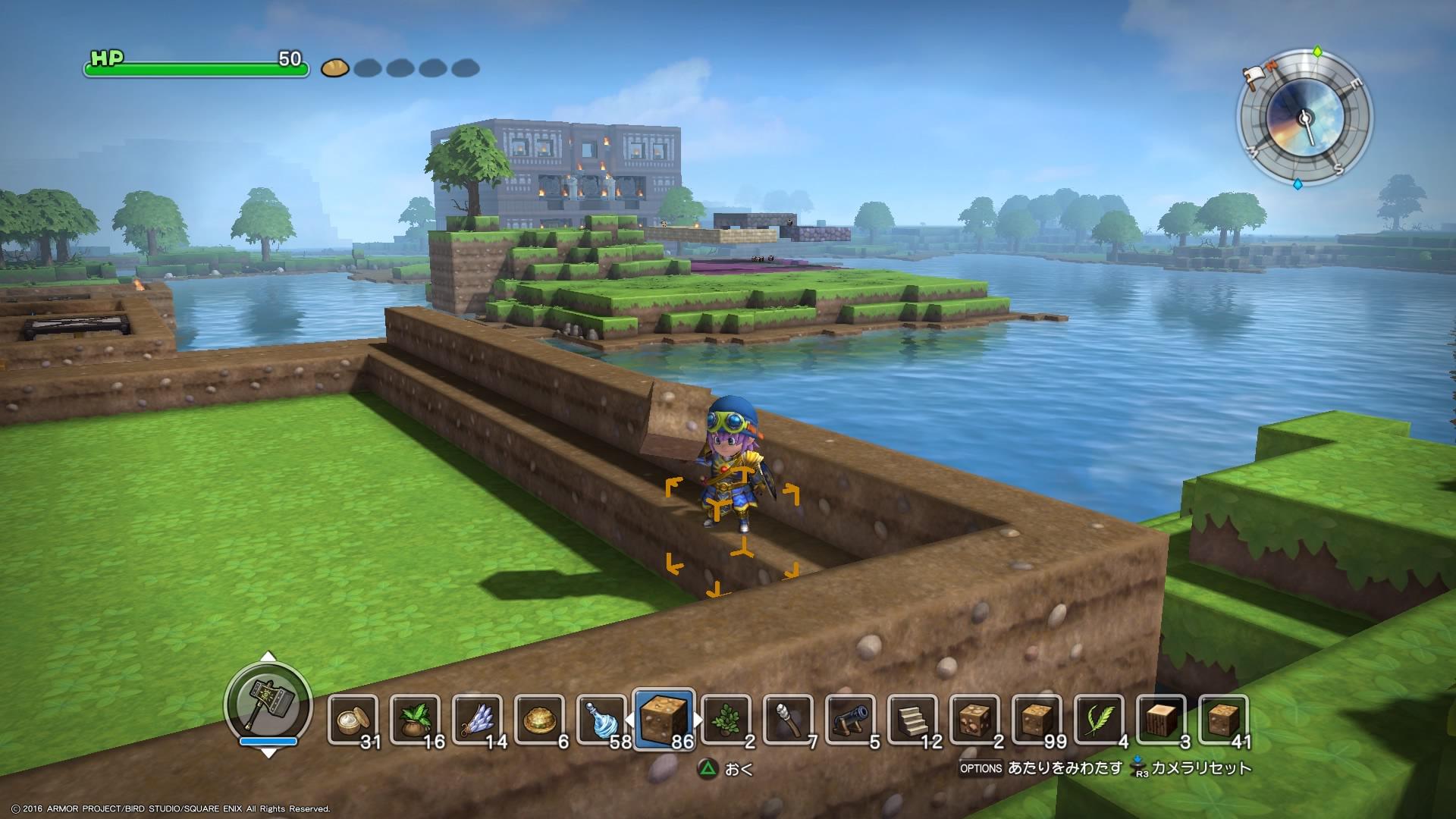 構築開始。湖の奥の建物は他ユーザーさんの作品で、ランダムで呼び出されます。