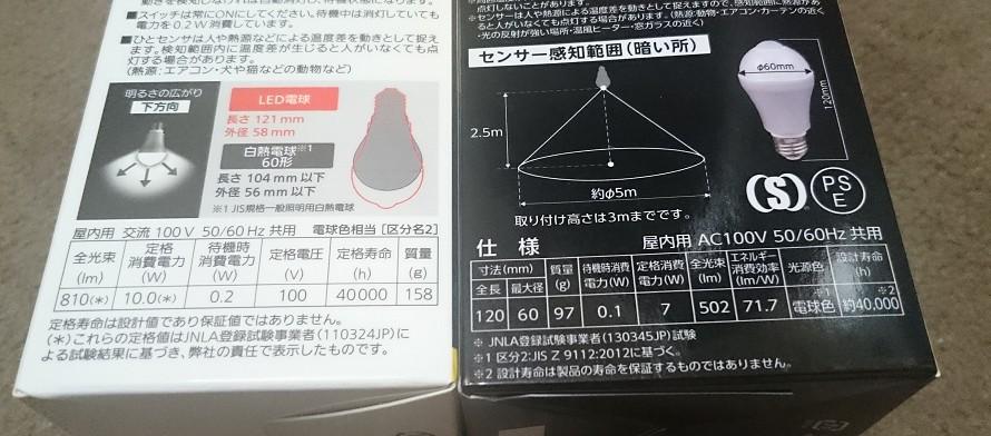 パナ60W相当(左)とドウシシャ40W相当(右)のスペック比較。明るさが違うとはいえ、パナ製は重量が重いです。
