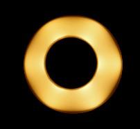 高速シャッターで電球を撮影したところ。複数のLEDが囲うように光っている特殊な構造です。