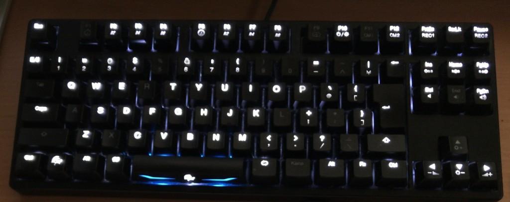 「DuckyChannel Shine3」。Cherryの赤軸ですし、ベースが白色LEDかつスペースキー部分はフルカラーLED搭載で購入当初は気に入りましたが、その白色LEDの不良率が高すぎです…。光らなくなった場所が多く不格好です。